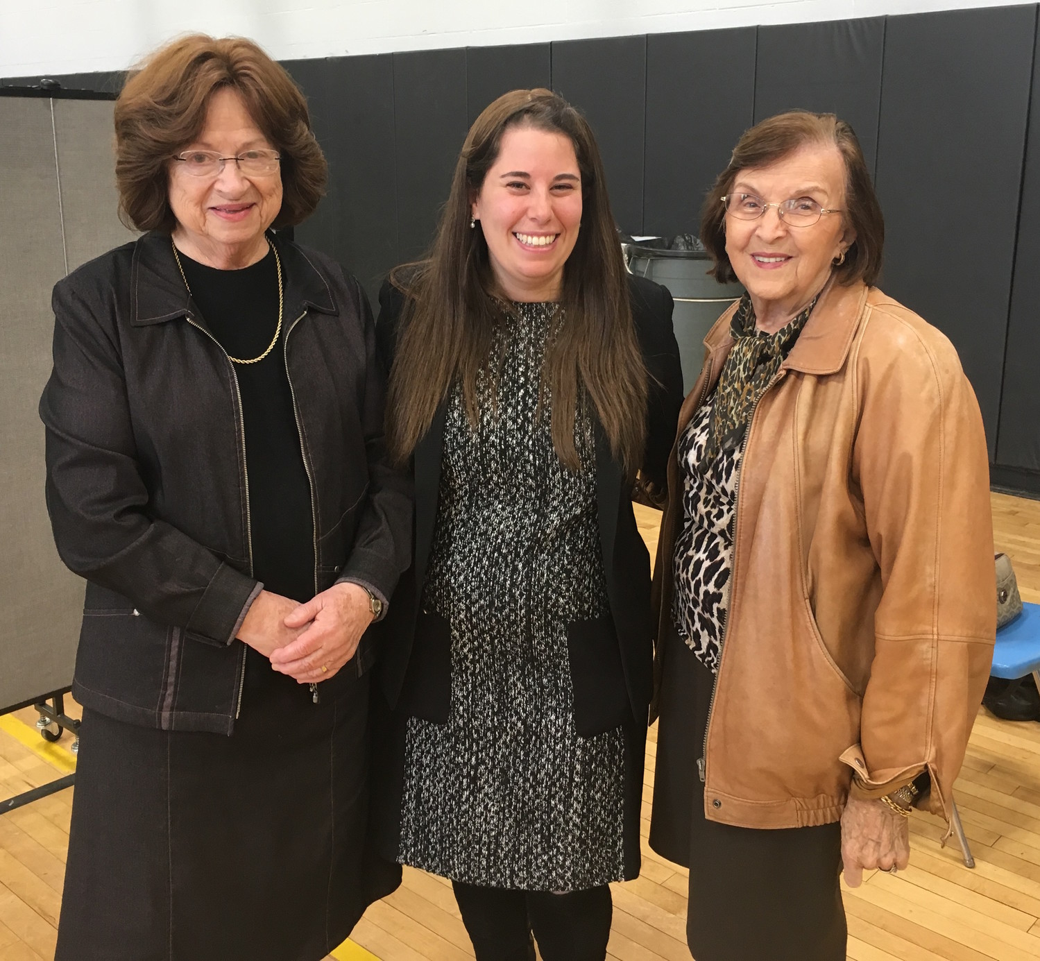 From left at HANC's Middle School: Mrs. Gottesman, Mrs. Liz Pazornick (development director), and Mrs. Lichtman.