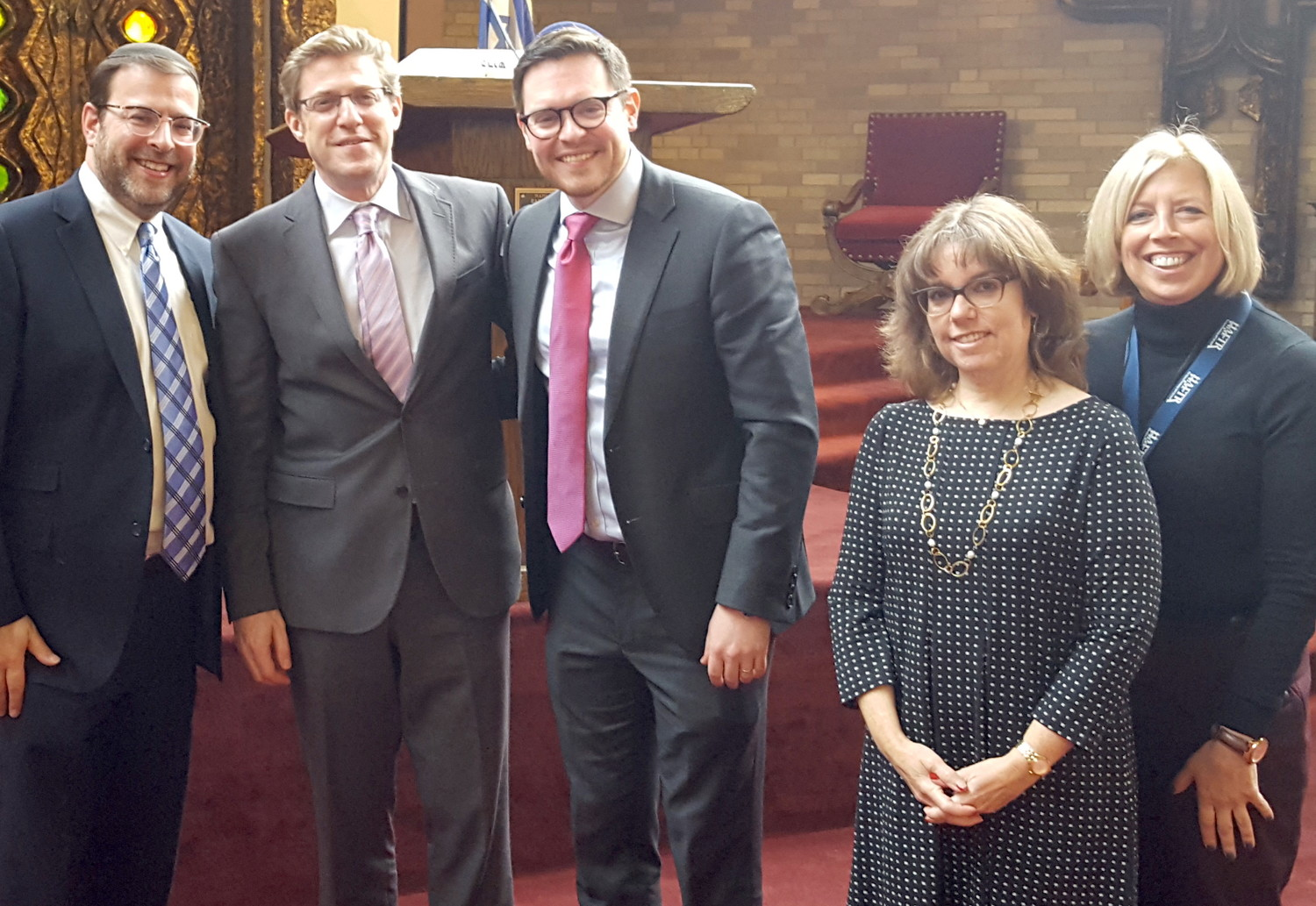 From left: Rabbi Dovid Khpchik of the Manhattan Jewish Experience, Rabbi Wildes, Joshua Gold, Cyndy Goldberg and Joy Hammer.
