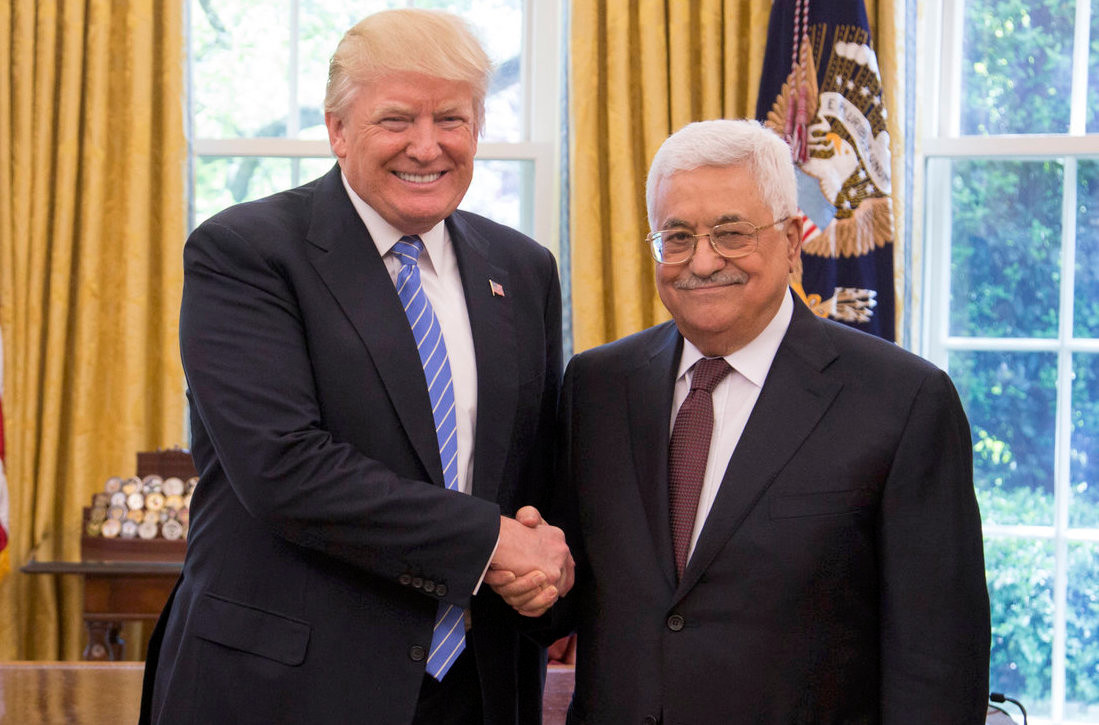 President Donald Trump and President of the Palestinian National Authority Mahmoud Abbas shakes hands as they in the Oval Office on Wednesday, May 3, 2017.