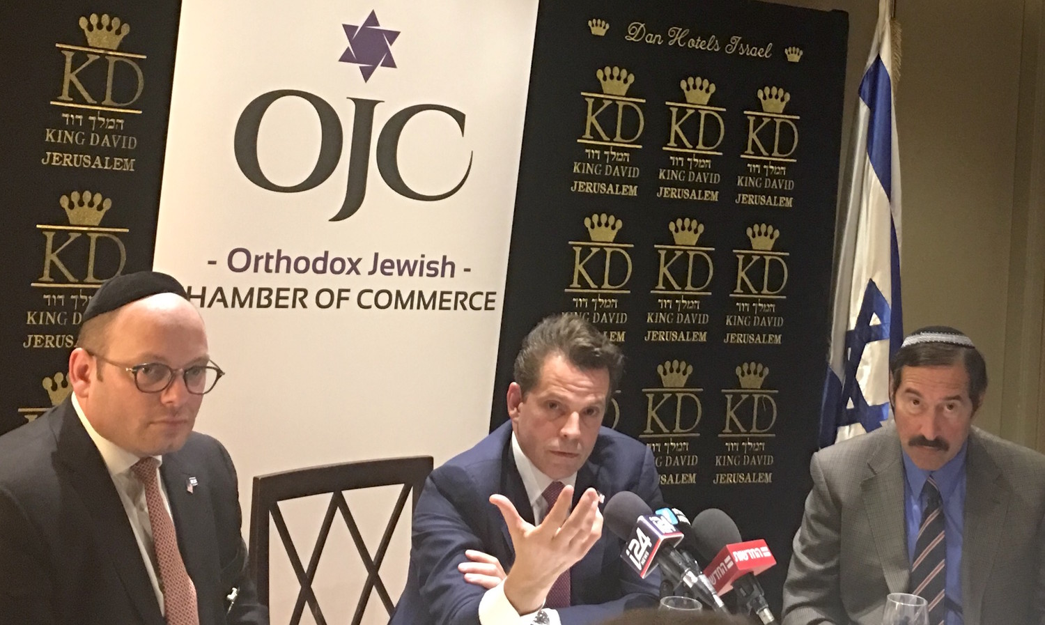 Anthony Scaramucci is flanked by Orthodox Jewish Chamber of Commerce founder and CEO Duvi Honig (left) and Executive VP Dr. Joseph Frager, at the King David Hotel in Jerusalem on Nov. 21.