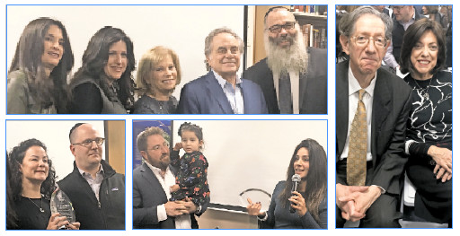 Attorney Ben Brafman, Five Towns master of ceremonies par-excellence, is flanked (from left) by library director Lisa Hawk, Rebbetzin Chanie Wolowik, Linda Brafman, and Rabbi Zalman Wolowik. Library Ambassador honorees Alan and Helene Gerber (at right), Avi and Danielle Arongvitz (bottom left) and Jamie and Rachel Stahler.