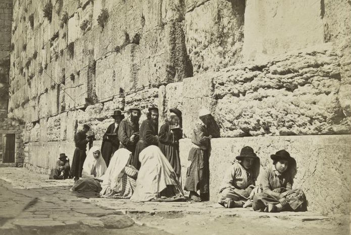 Jews pray at the Western Wall, circa 1880.