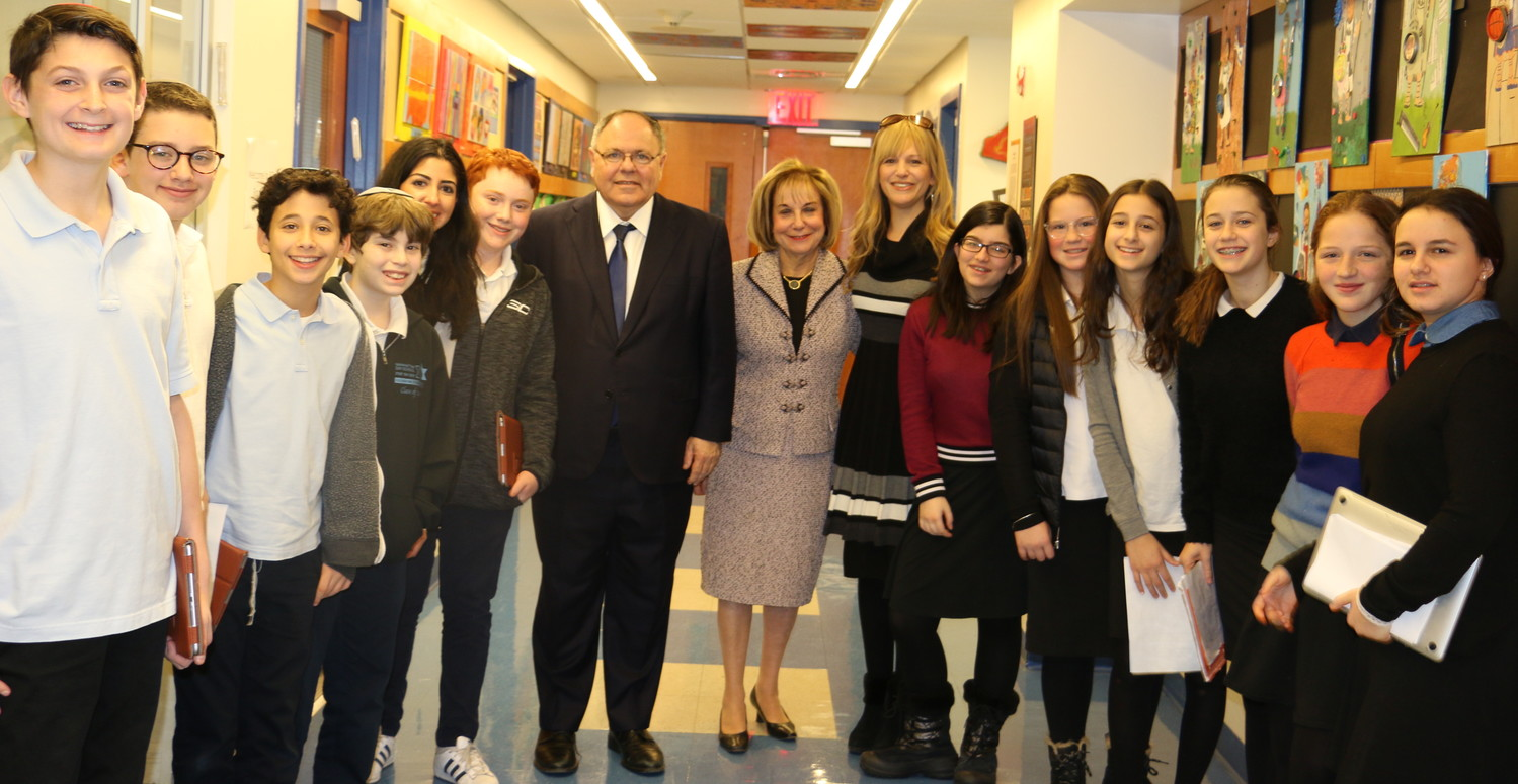 Students on the MDS Stand With Israel advocacy team are pictured with (from left) Ambassador Dani Dayan, Associate Principal Judy Melzer, and Head of School Raizi Chechik. MDS teacher and consultant to Stand With Israel Natacha Lugassy is pictured among the students to the left of the ambassador.