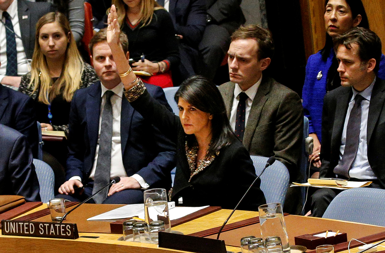 United States Ambassador to the United Nations Nikki Haley vetos an Egyptian-drafted resolution on the status of Jerusalem, at the United Nations Security Council on Monday.