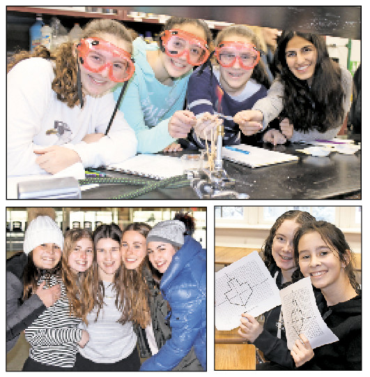 Clockwise from top: SKA's Chanukah Across the Curriculum brought the holiday into chemistry and math classes, and SKA girls celebrate Chanukah on Ice.