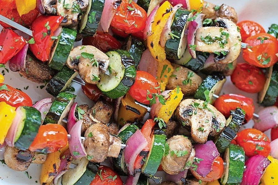 Many Mushroom Skewers and More with Lemon-Garlic Marinade (Pareve)