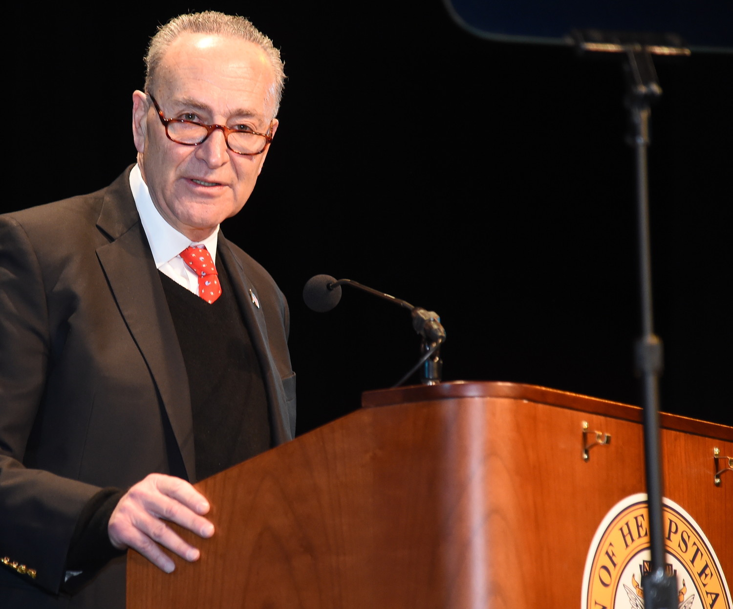 Senator Charles Schumer speaks at the swearing in of Town of Hempstead Supervisor Laura Gillen on Jan 1.