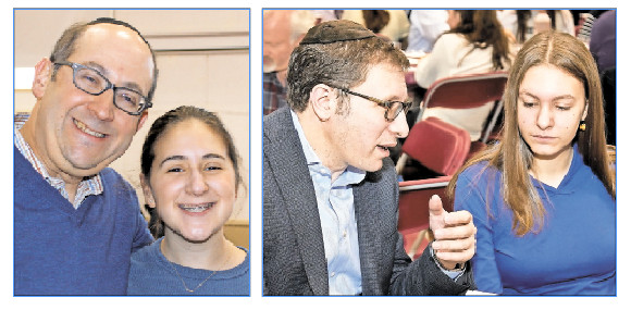 Pictured from left: Rabbi Shimon Laufer and SKA ninth grader Anni, Rabbi Liss and SKA ninth grader Sussy.