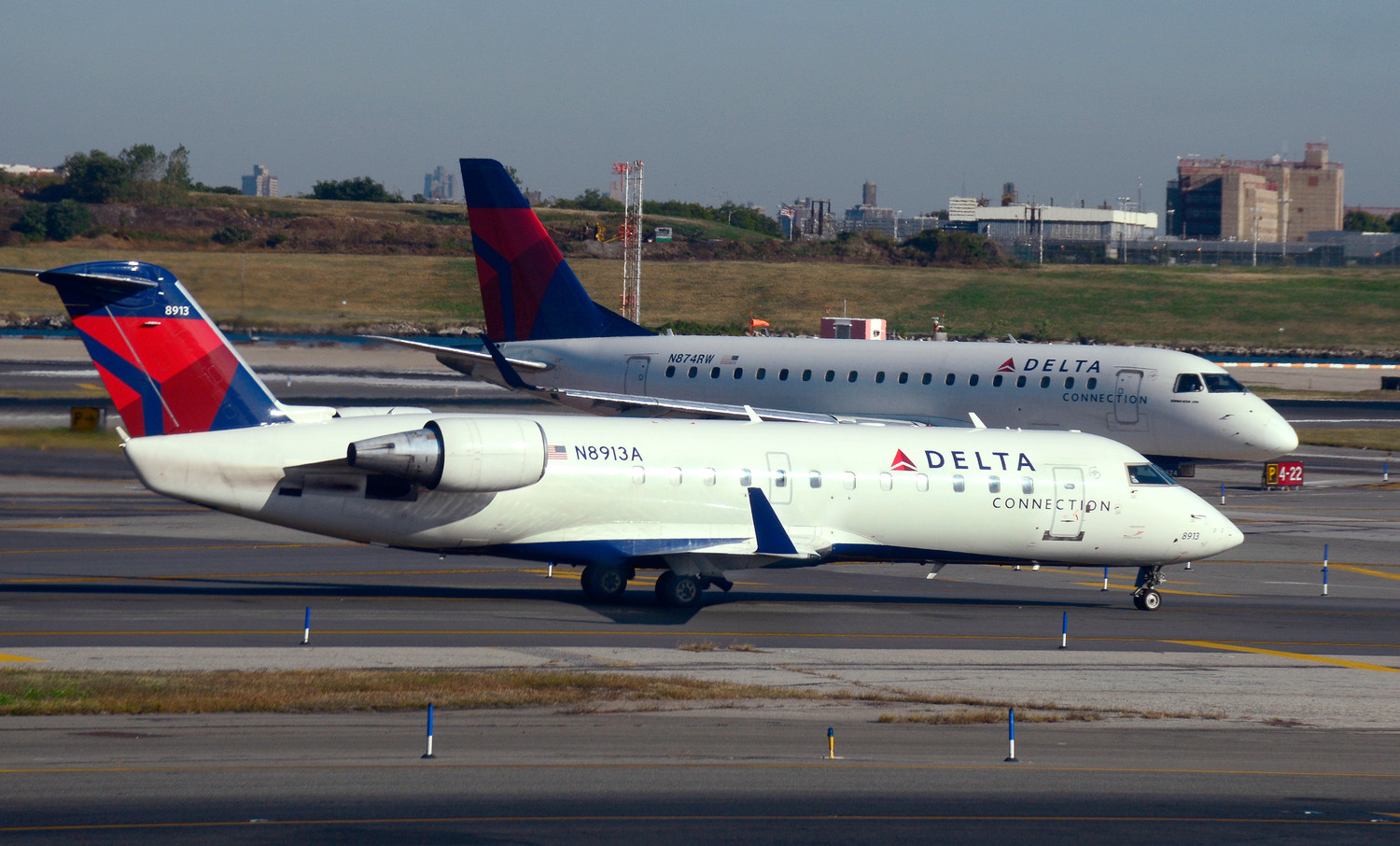 Two Delta Connection passenger jets at LaGuardia Airport last October.