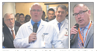At Wound Care Center's ribbon-cutting (from left): Dr. Arnold Hertz, Medical Director Dr. Thomas Lubeski, Associate Director Dr. Joseph Tarantino, and St. John's COO Christopher Parker.