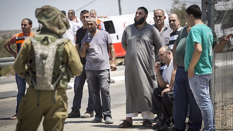 The family of a Palestinian man who stabbed a soldier, at Bell Checkpoint in 2015.