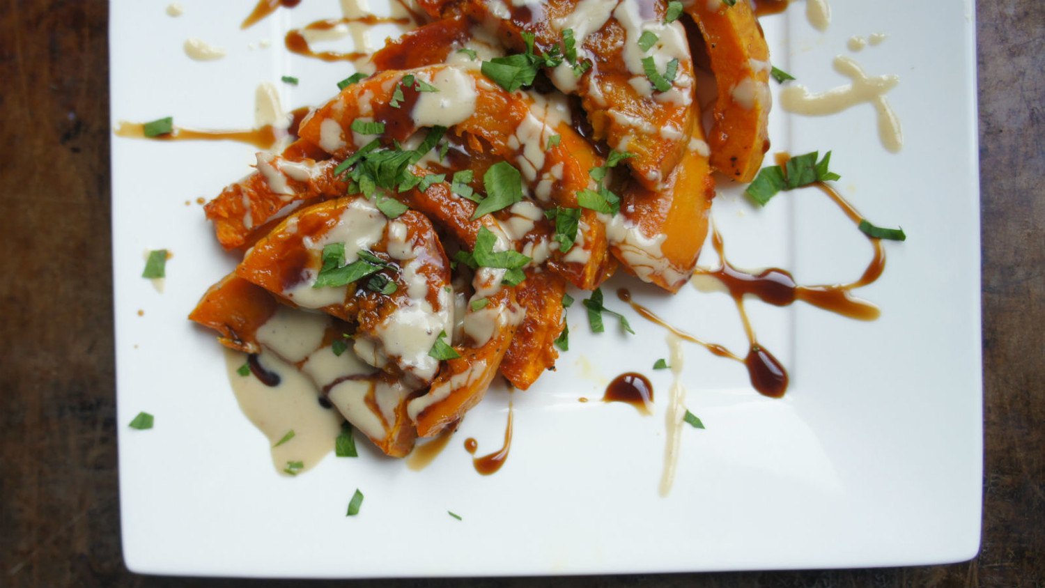 Roasted squash with tahini