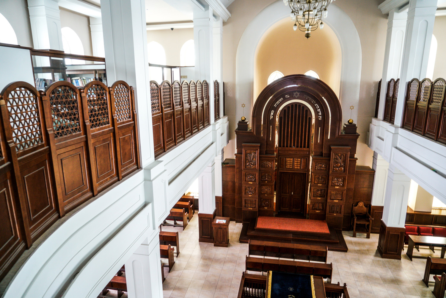 A view of the main prayer hall of the Great Synagogue of Tomsk.