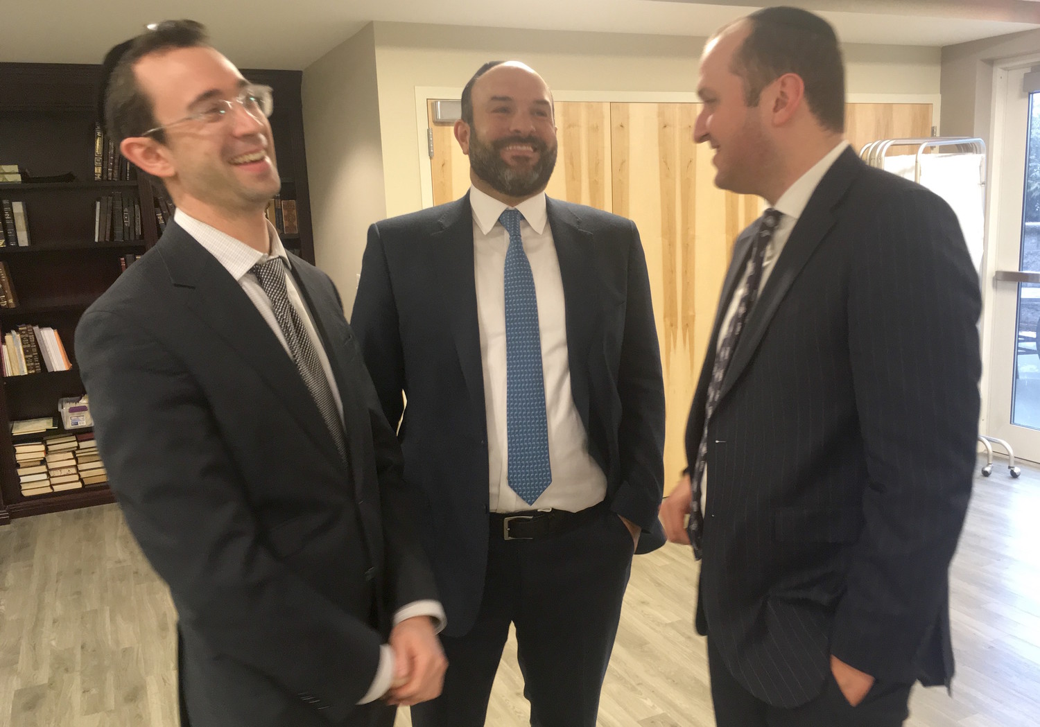 At new kosher rehab center, from left: Rabbi Yaakov Trump of the YI of Lawrence-Cedarhurst, Deputy Mayor of Lawrence Michael Fragin, and center administrator Daniel Schaffer.