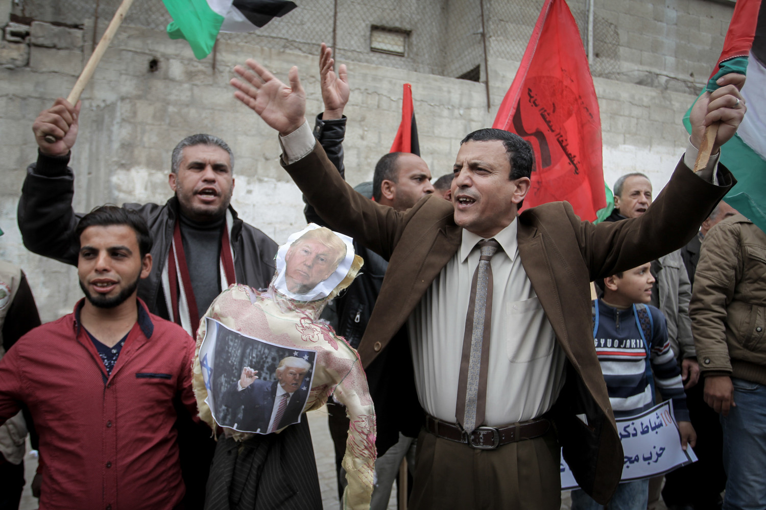 Palestinians protest U.S. aid cuts, at U.N. offices at the Khan Yunis refugee camp in the Gaza Strip on Feb. 11.