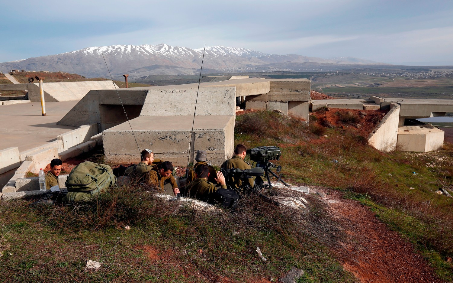 Israeli soldiers taking positions near the border with Syria on Feb. 10.