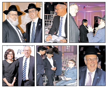 Top from left: Dovid Bloom, one of Achiezer's Community Patron Awardees, with Rabbi Elysha Sandler; honoree Jay Gelman pages through the gala's massive journal; Jewish radio personality Nachum Segal with Chabad of Mineola Rabbi Anchelle Perl. Bottom from left: Rookie Billet and Rabbi Herschel Billet; boys waiting for the program to begin; and dinner co-chairman Lloyd Keilson.