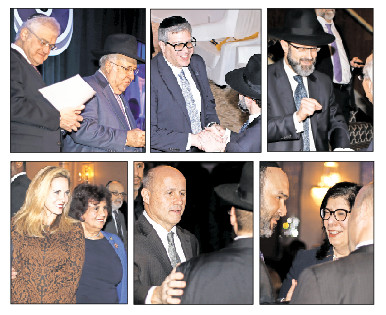 Top from left: Dinner co-chairmen Ronald Lowinger and Lloyd Keilson, who led the assembly in Tehillim; Gourmet Glatt's Yoeli Steinberg and White Shul Rabbi Eytan Feiner of Far Rockaway. Bottom from left: Town of Hempstead Supervisor Laura Gillen with Ann DeMichael of Woodmere; Nassau Police Commissioner Patrick Ryder; Village of Lawrence Deputy Mayor Michael Fragin, and Nassau District Attorney Madeline Singas.
