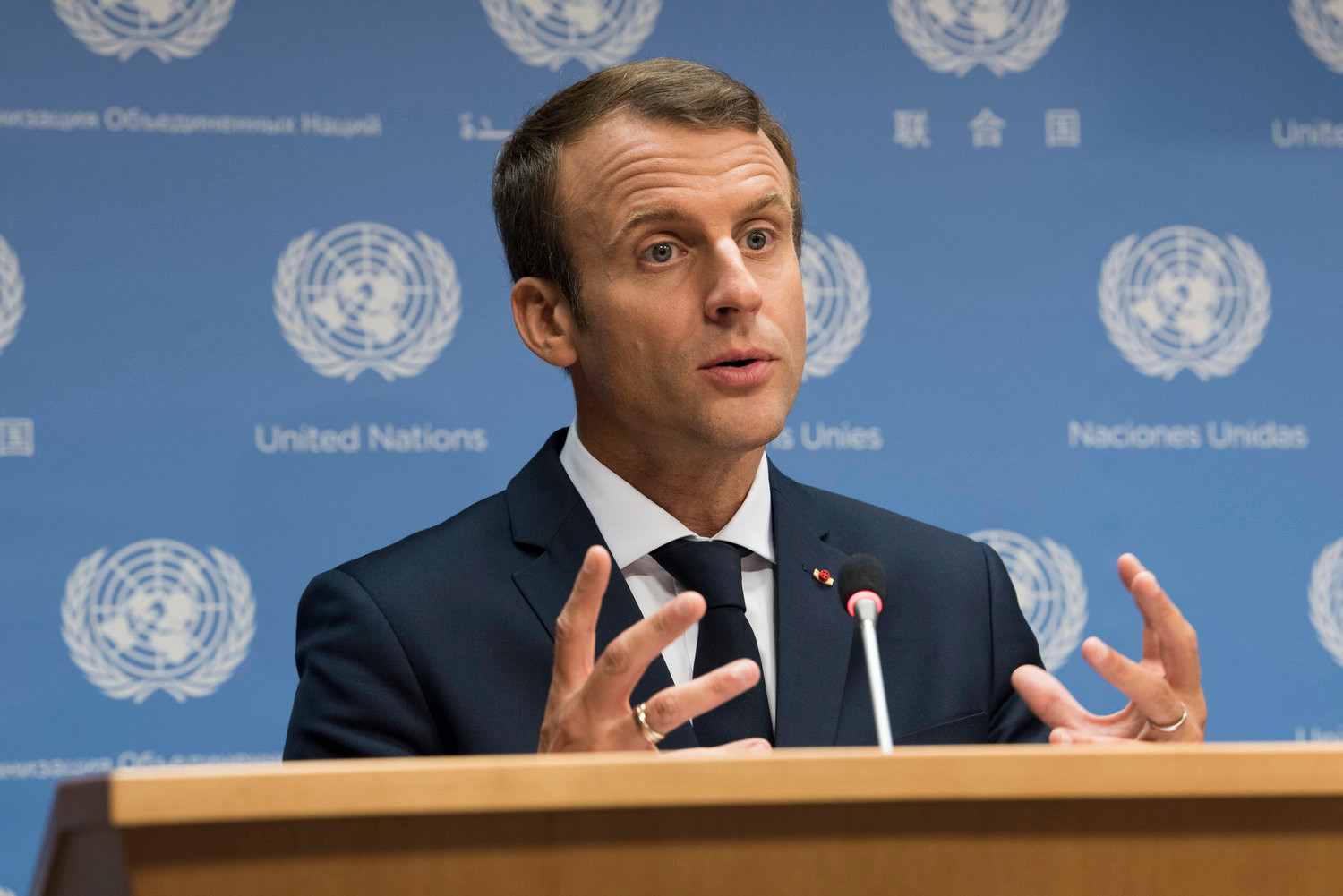 French President Emmanuel Macron at a U.N. press conference on Sept. 19, 2017.