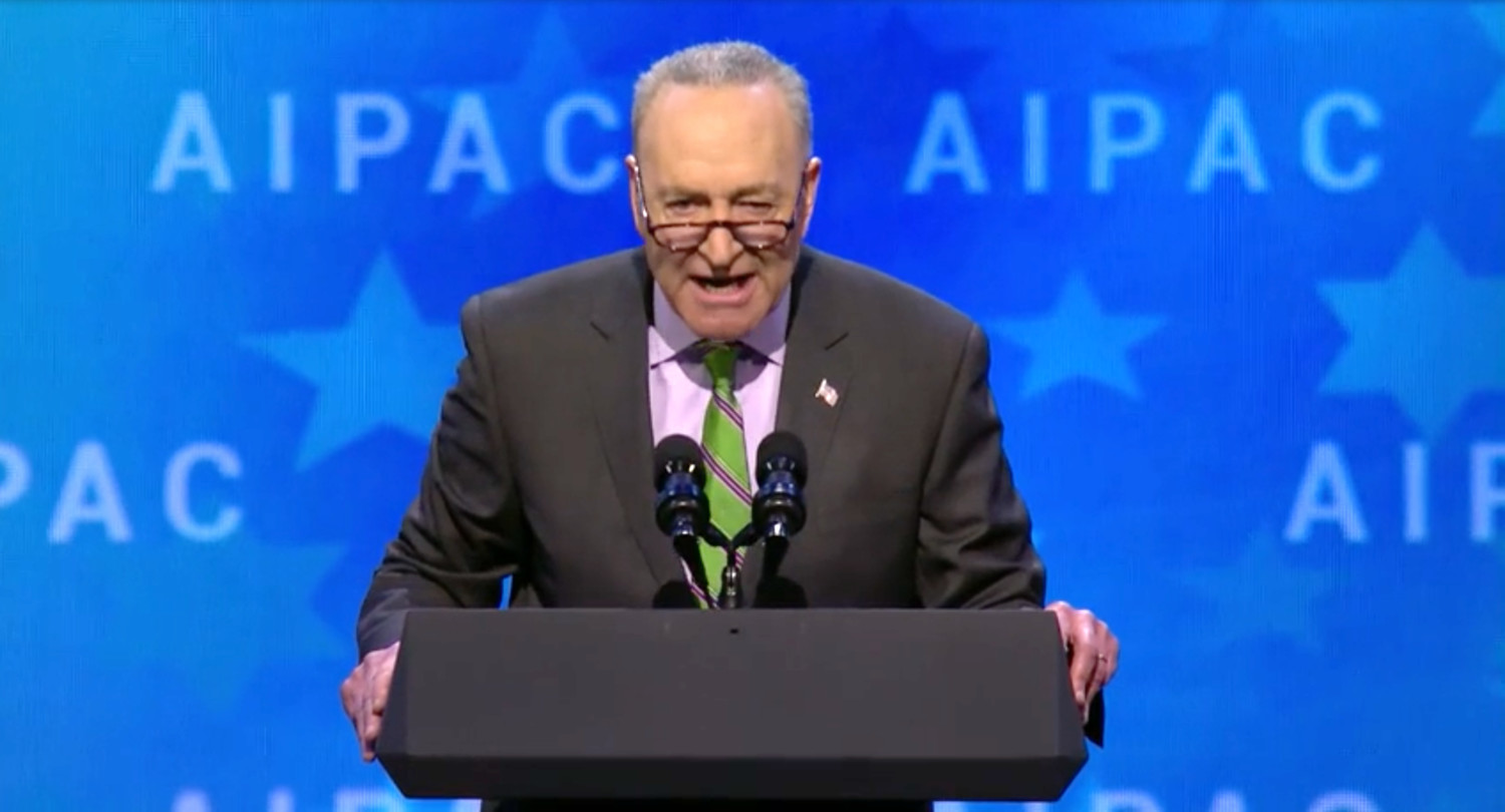 Senator Charles Schumer speaks at the AIPAC Policy Conference on March 5, 2018.