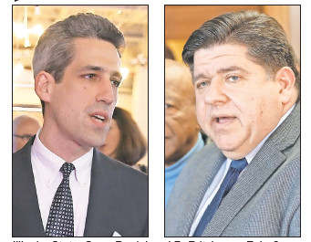 Left: Illinois State Sen. Daniel Biss in 2014. Right: J.B. Pritzker on Feb. 6.