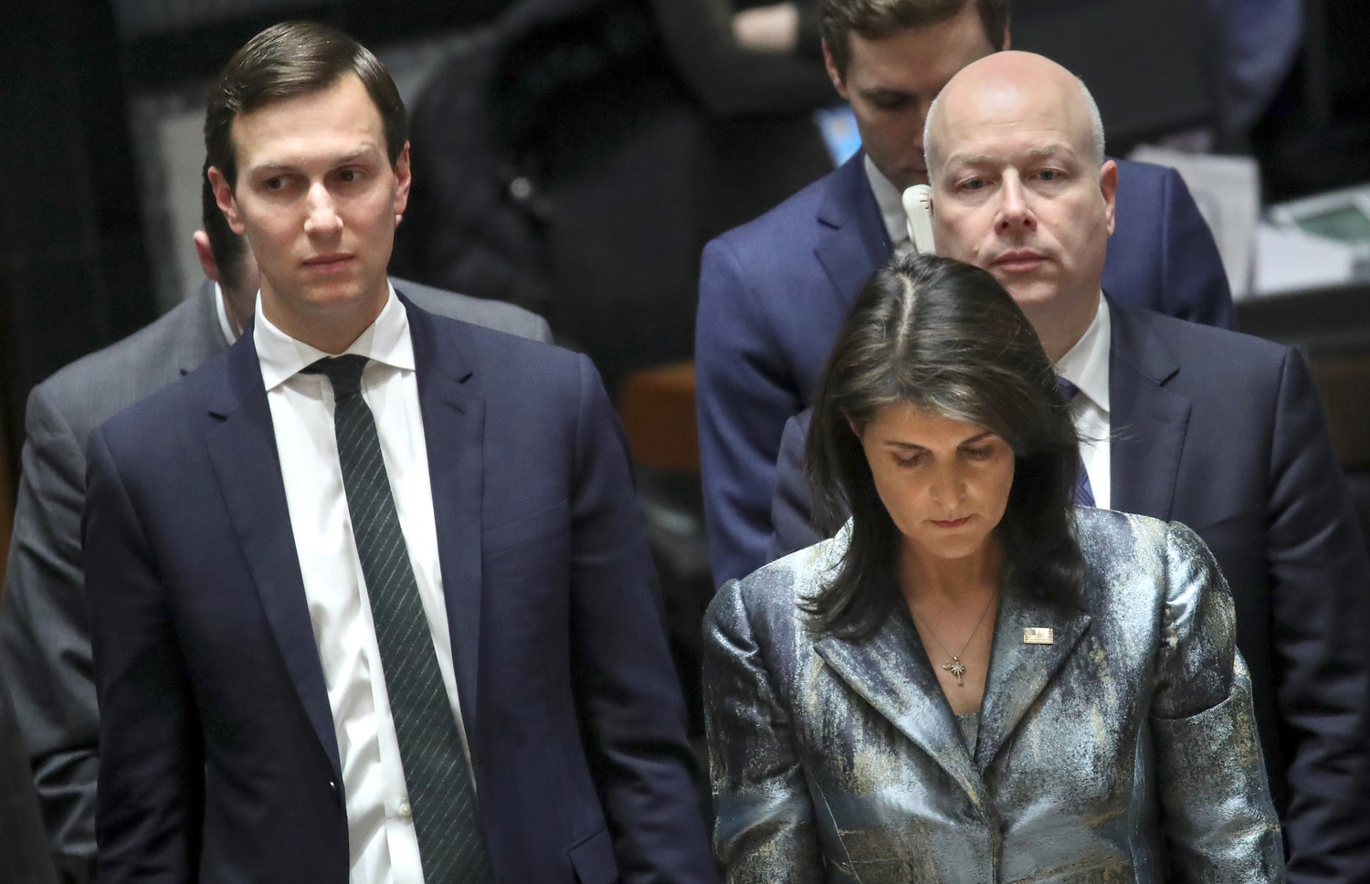 Jared Kushner at a U.N. conference with Ambassador Nikki Haley and his fellow Middle East peace negotiator Jason Greenblatt, on Feb. 20.