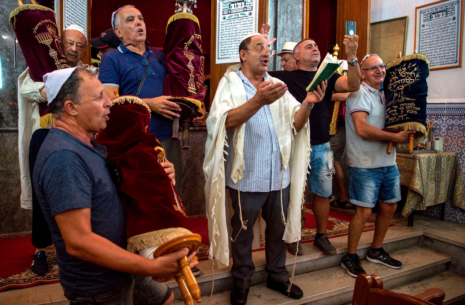 Moroccan Jews in synagogue in Marrakesh last year.