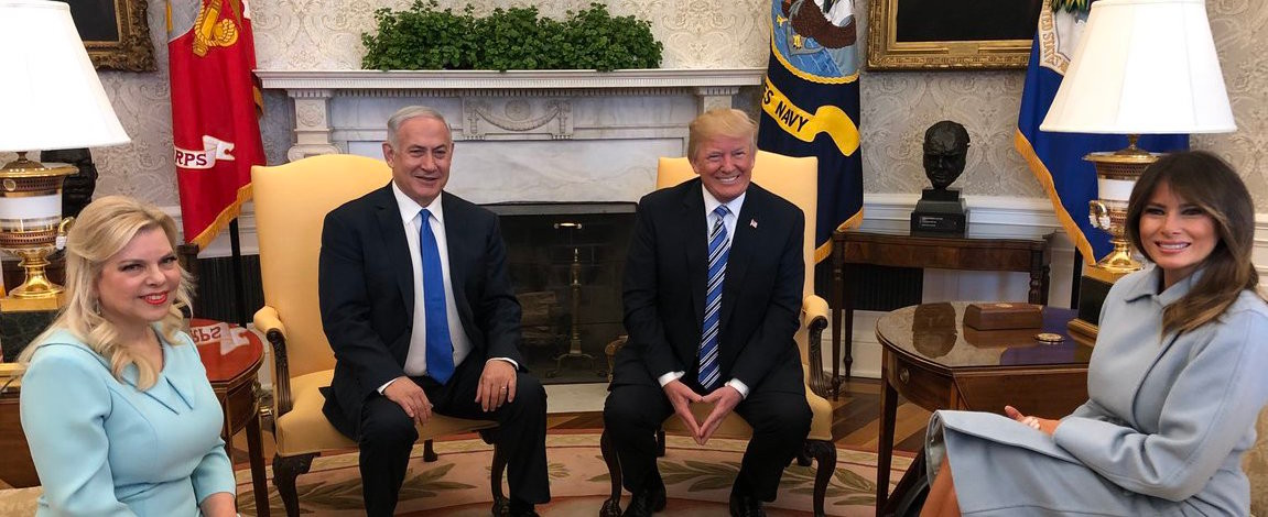Pictured: President Trump and PM Netanyahu at the White House with their wives, Sara Netanyahu and Melania Trump.