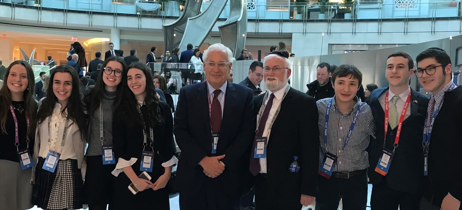 HAFTR's team flanks the U.S. ambassador to Israel, Five Towner David Friedman. From left: Katie Friedman, Tamar Rosenwald, Annabelle Muller, Abigail Appel, Rabbi Yonoson Hirtz, Daniel Friedman Elijah Gurvitch, and Elijah Greenberg.