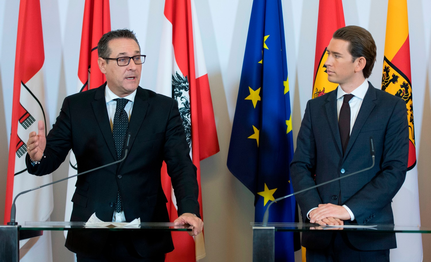 Chancellor Sebastian Kurz, right, of the Austrian People's Party and Vice Chancellor Heinz-Christian Strache of the Freedom Party, after their first Cabinet meeting on Dec. 19, 2017.