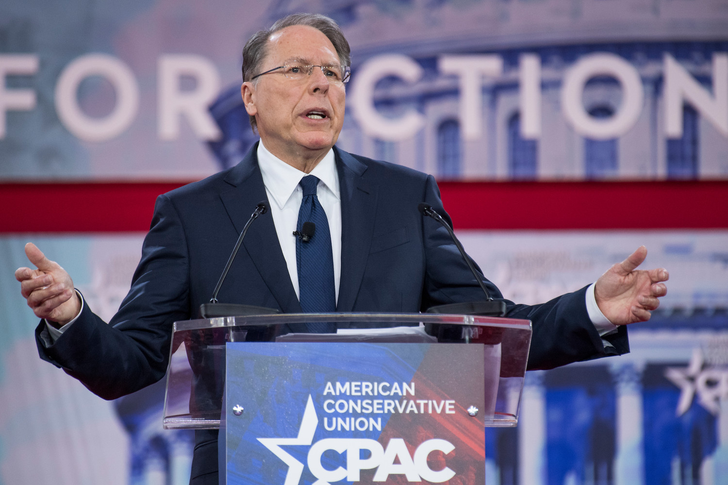 Wayne LaPierre, CEO of the National Rifle Association, addresses the Conservative Political Action Conference in Oxon Hill, Md., on FebFeb. 22.