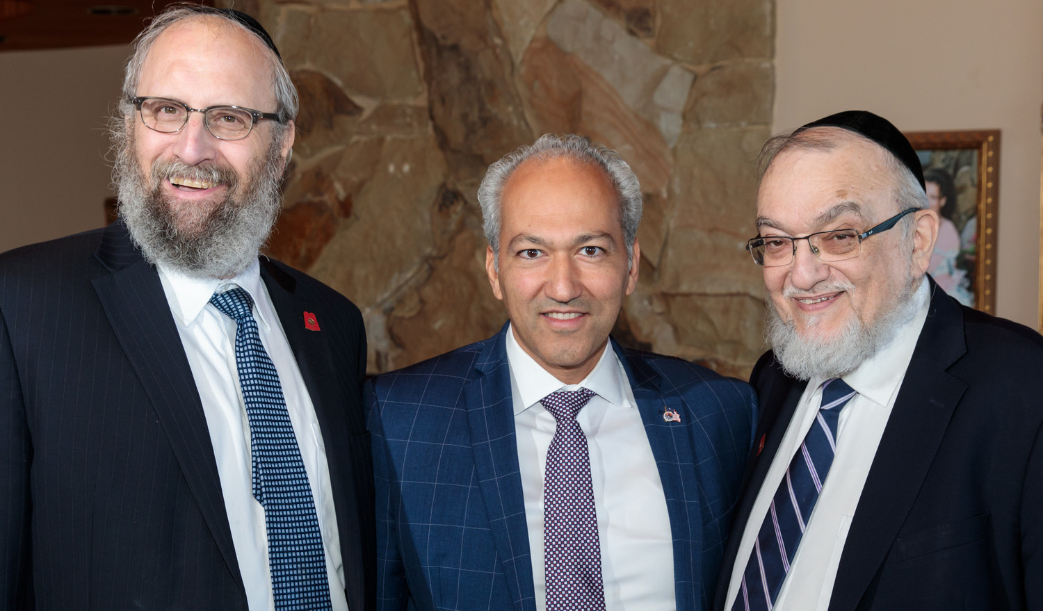 From left: Rabbi Yeruchim Silber, director of government relations for the Agudah; Dr. Pedram Bral, mayor of Great Neck; Rabbi Shmuel Lefkowitz, Agudah's vice president of community services.