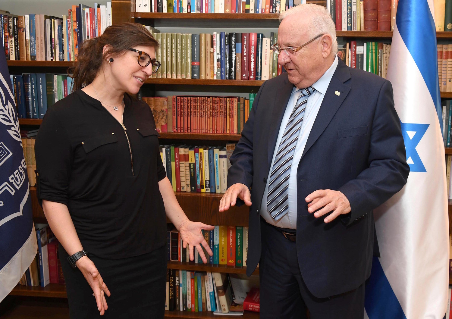 Mayim Bialik meets Israeli President Reuven Rivlin a in Jerusalem on March 18.
