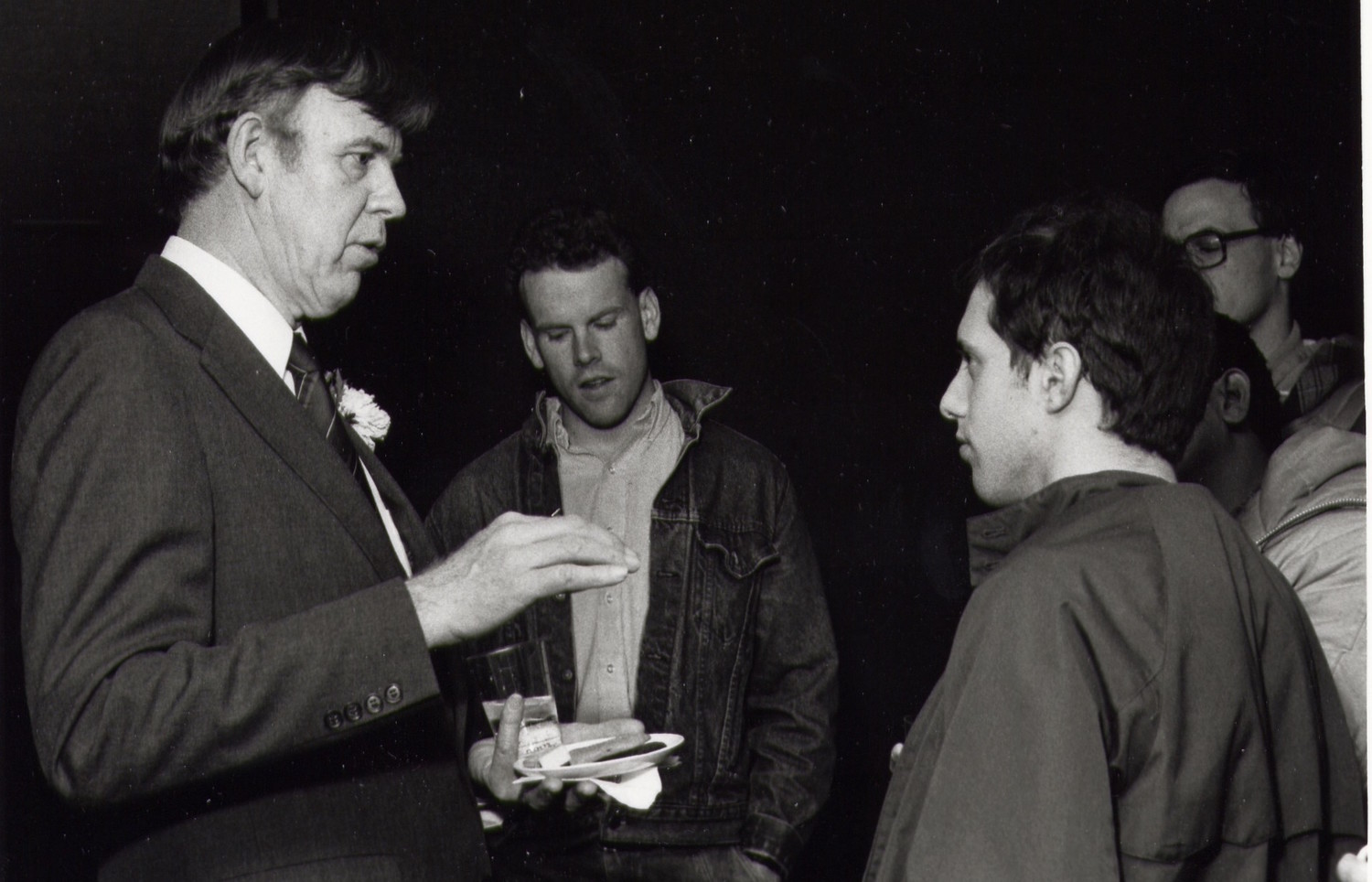 Prof. David S. Wyman with students in 1985.