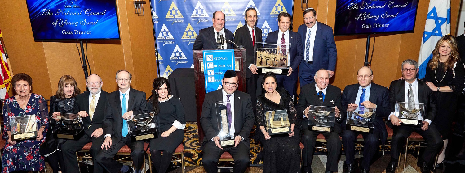 Honorees are seated, from left: Helen Freedman, Dr. Jennifer Lebovits, Dr. Robert Lebovits, Michael Gross, Susan Gross, Duvi Honig, Cindy Grosz, Morton Davis, Ken Abramowitz, Stanley Sved, Yocheved Sved. Standing, from left: Farley Weiss, Judah Rhine, Anthony Scaramucci, Dr. Joseph Frager.