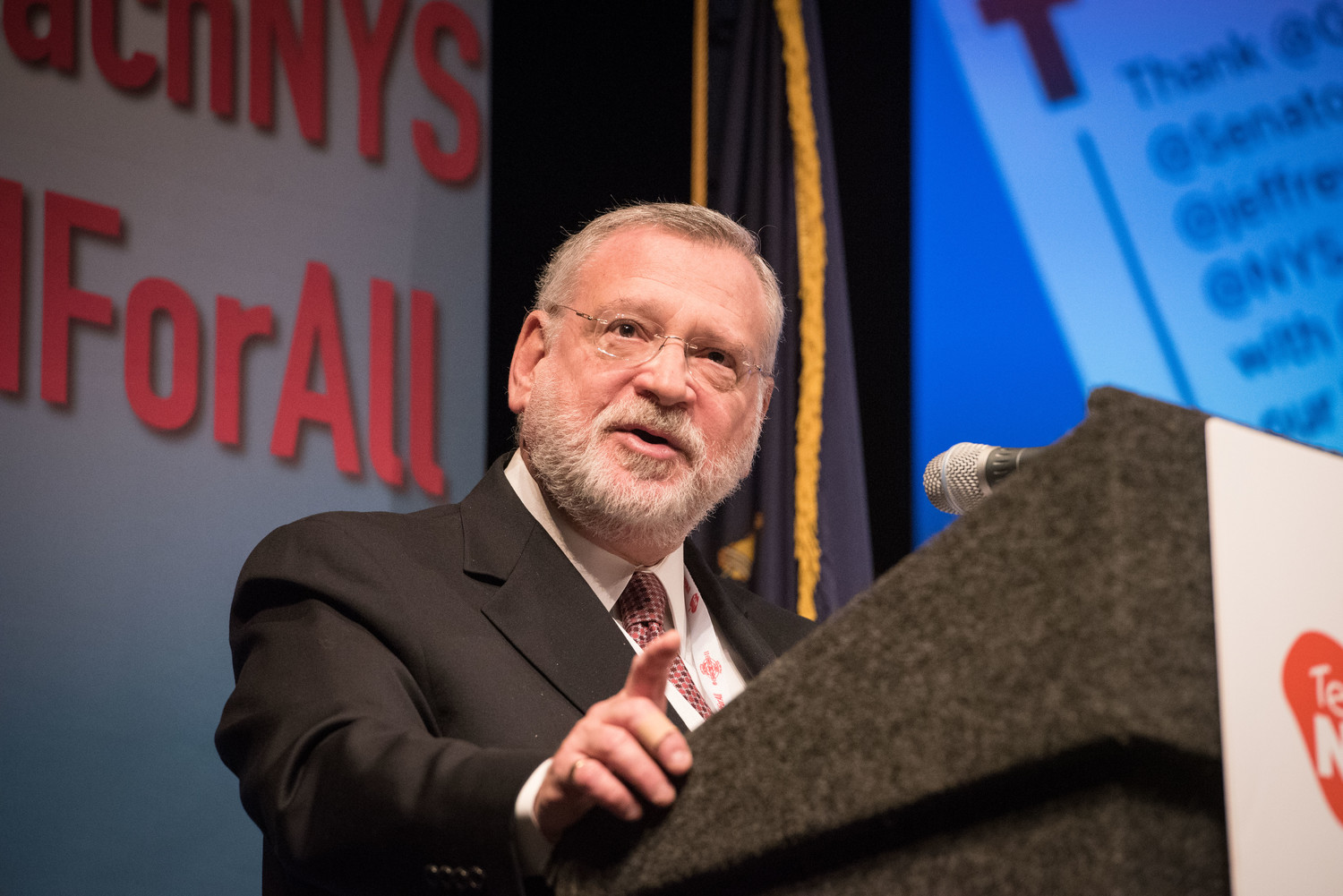 Orthodox Union Executive Vice President Allen Fagin speaks in Albany.