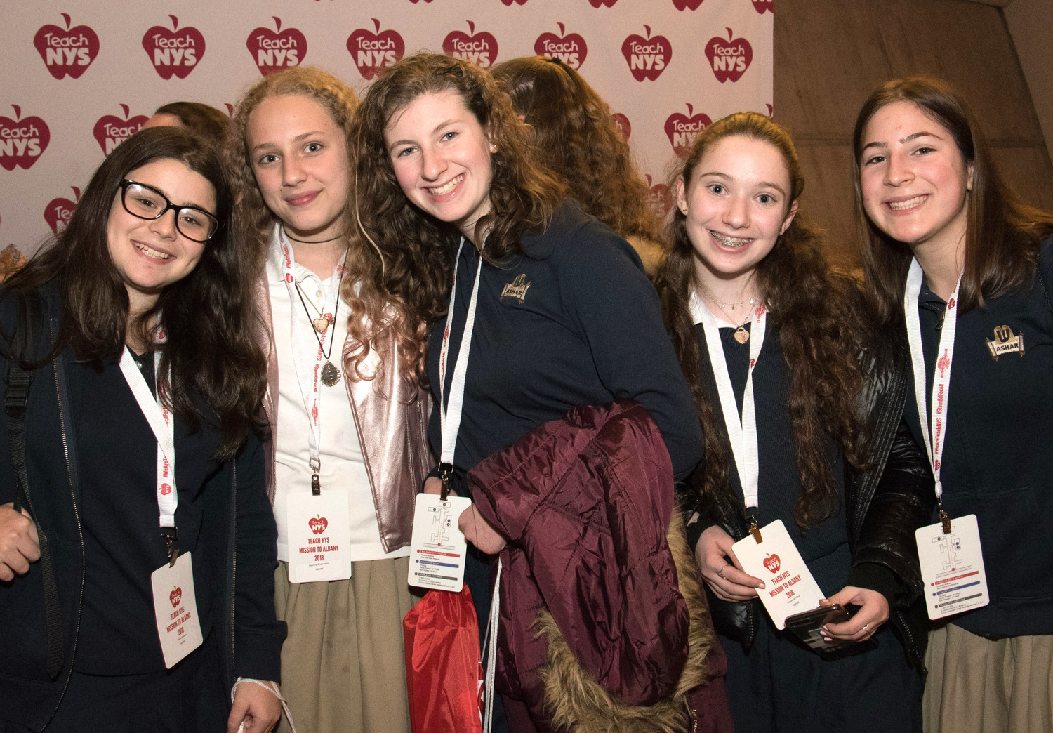 These girls from ASHAR — the Adolph H. Schreiber Hebrew Academy of Rockland, in New City — joined with Teach NYS in lobbying for a day in Albany.