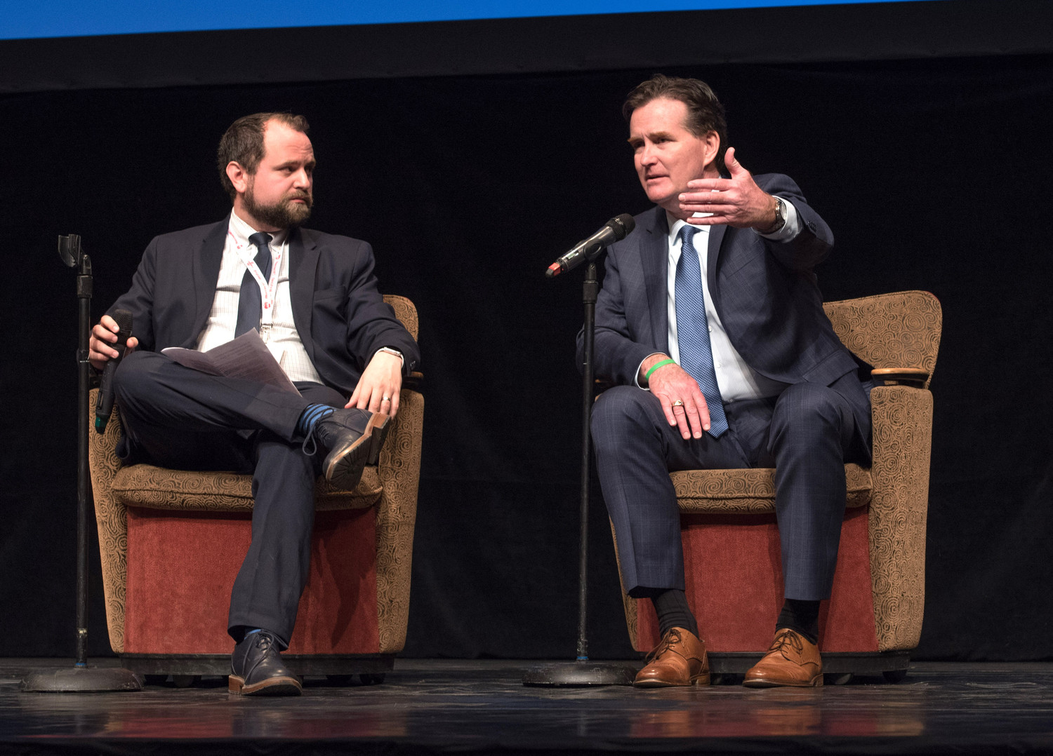 Maury Litwack (left), executive director of the Teach Advocacy Network, and state Senate Majority Leader John J. Flanagan participate in a panel discussion during last week's Teach NYS event in Albany.