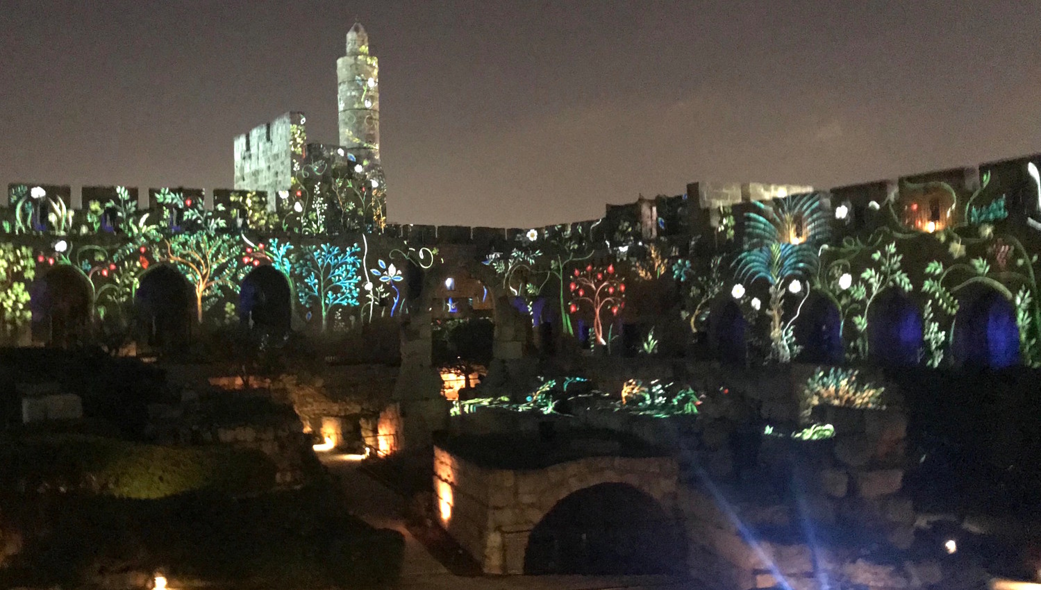 Introductory scenes to the new Tower of David Night Spectacular that opens on April 1.