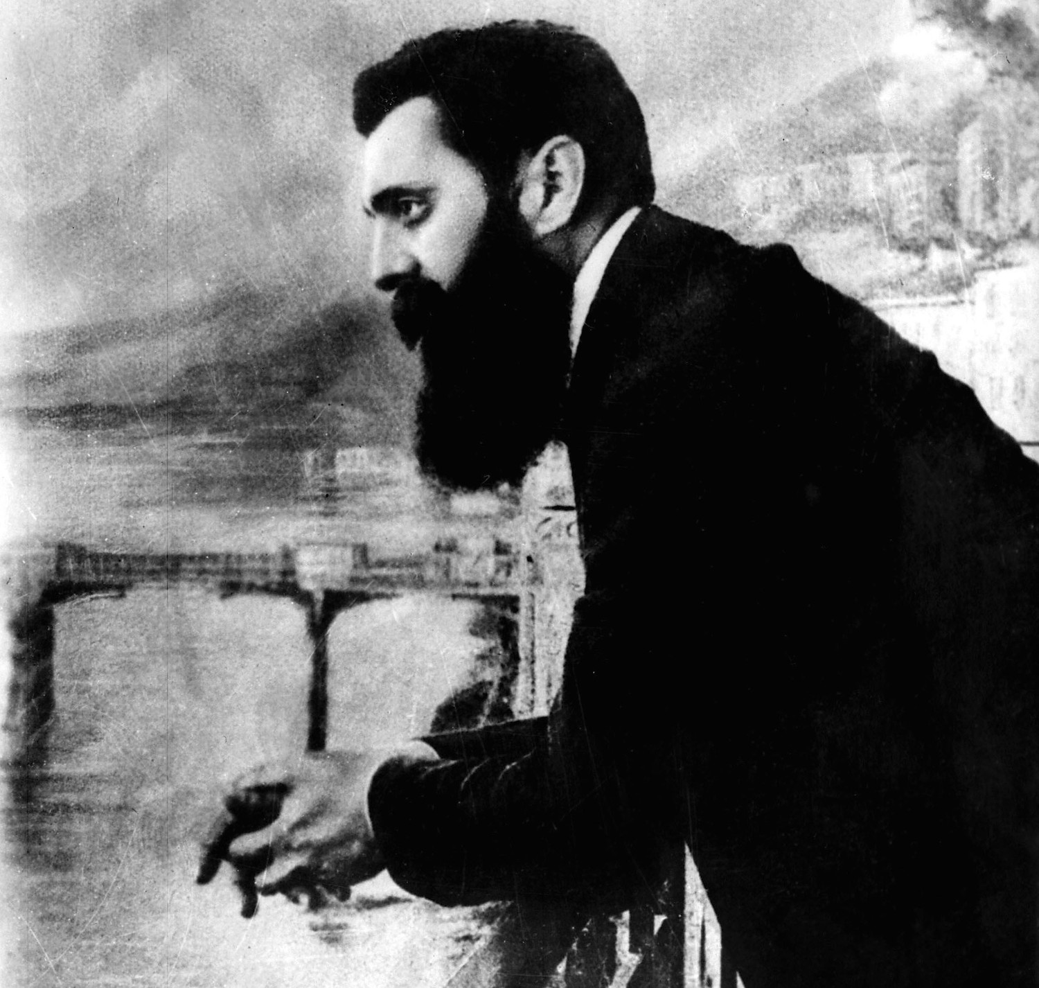 Theodore Herzl, the father of modern Zionism, leans over the balcony of the Drei Konige Hotel during the first Zionist congress August 29, 1897 in Basel, Switzerland.