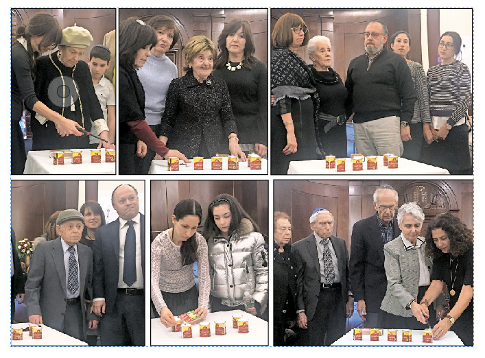 Those who lit the yahrzeit candles are pictured here — top row, from left: Cesai Tau, Helena Bomstein and Bertha Bochner; bottom row, from left: Herman Teper, the grandchildren of Fanya Gottesfeld Heller, and Sarah Knecht.
