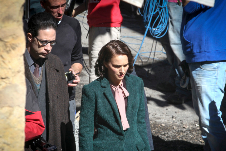 Hollywood Actress Natalie Portman and Israeli actor Gilad Kahana in Jerusalem's Nachlaot neighborhood during the filming of a movie based on a book by Israeli author Amos Oz in February 2014.