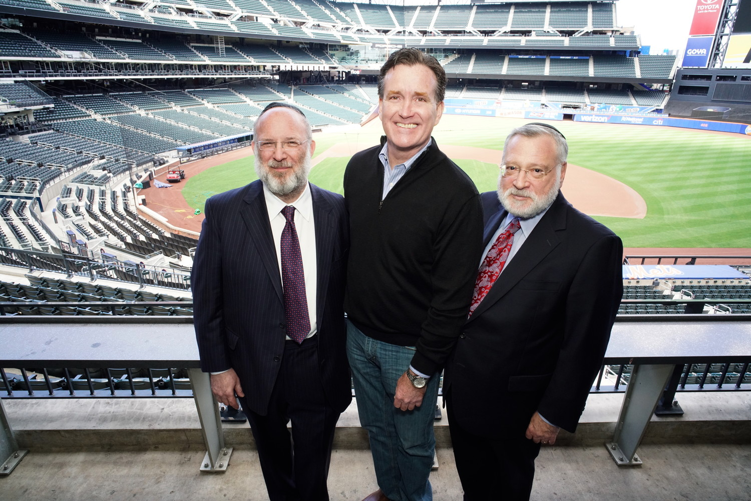 At CitiField: From left: OU President Moishe Bane, state Sen. Majority Leader John Flanagan, and OU Executive Vice President Allen Fagin.