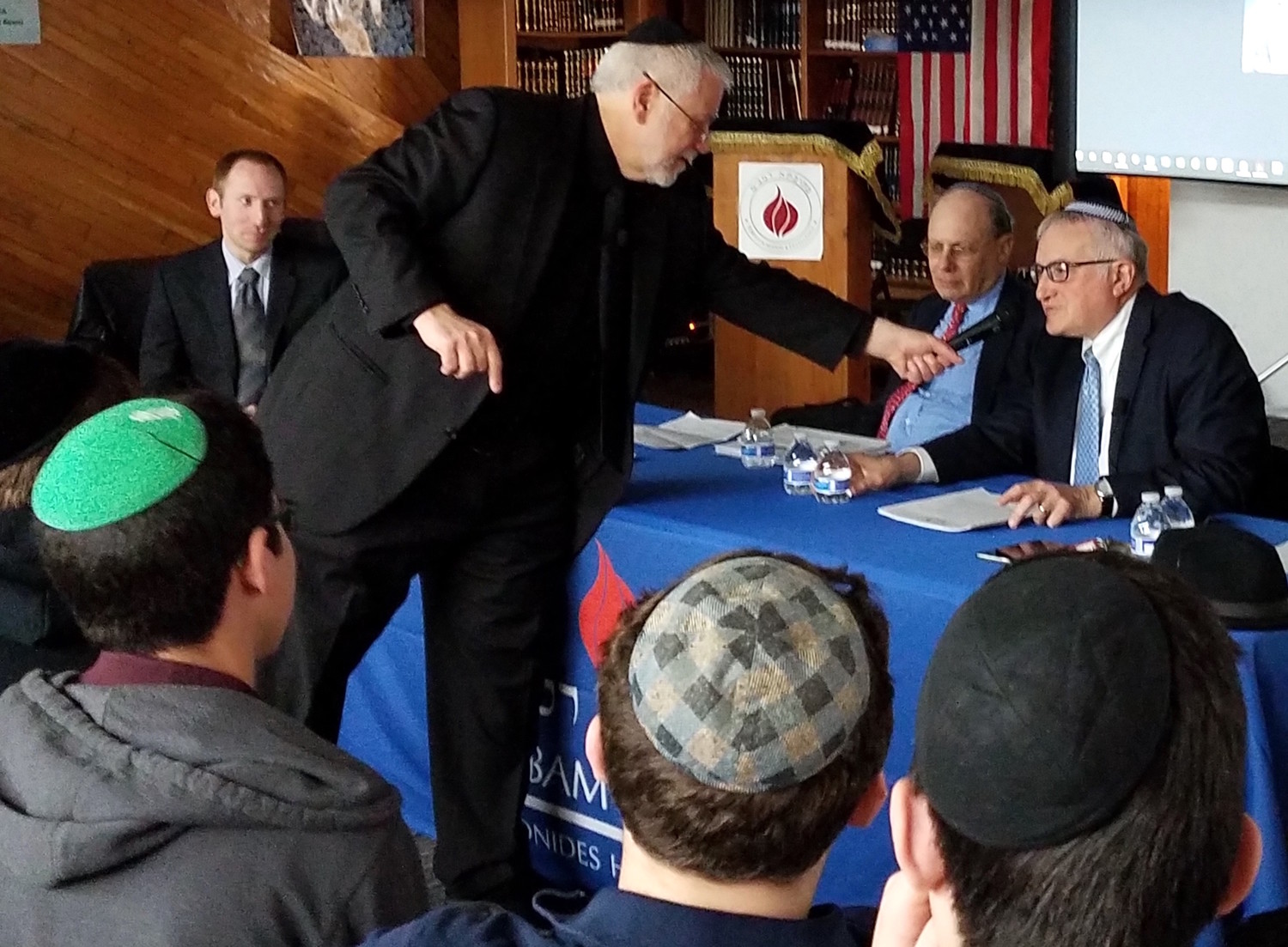 "Rabbi Yotav Eliach (at right) is greeted at the launch of his book, ""Judaism, Zionism and the Land of Israel."""