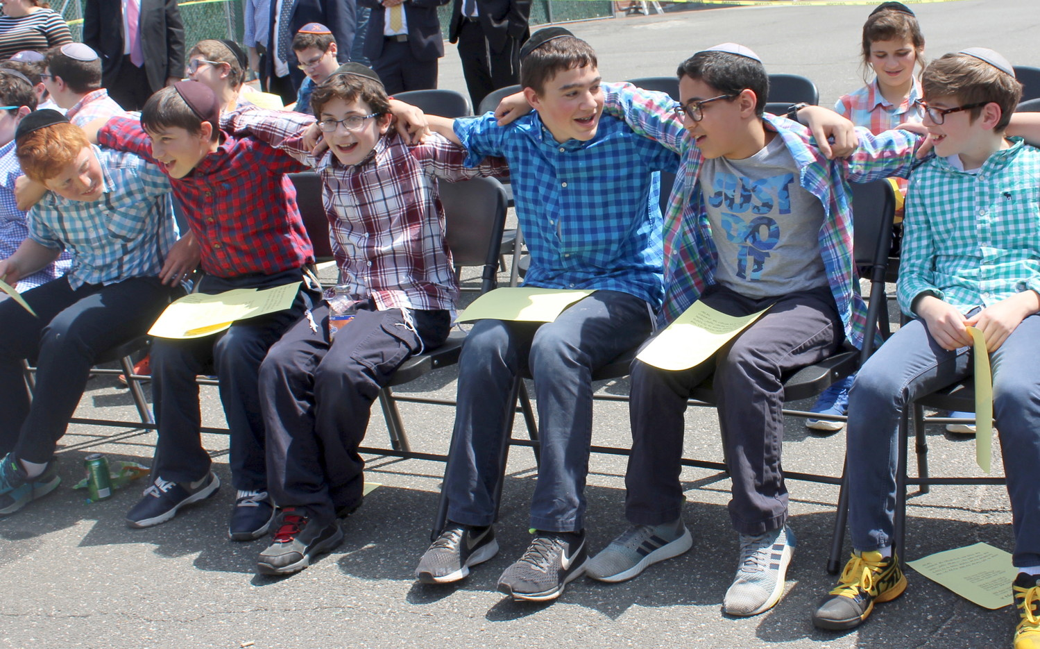 Seventh graders join in song as Lag Ba'Omer was celebrated in the Hewlett yeshiva.
