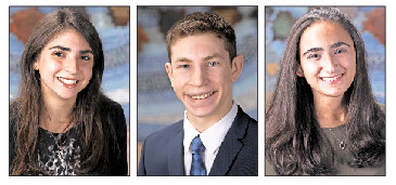From left: Valedictorian Caylie Tuerack, Salutatorian Jason Kurlander, Speaker Shirin Benjaminpour.