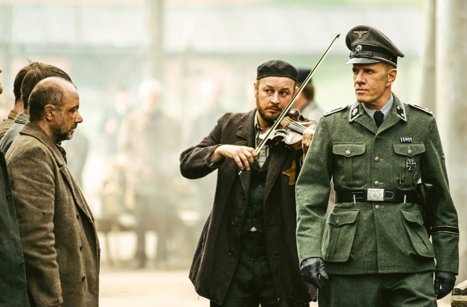 "Christopher Lambert, right, portraying a German Nazi officer in ""Sobibor."""