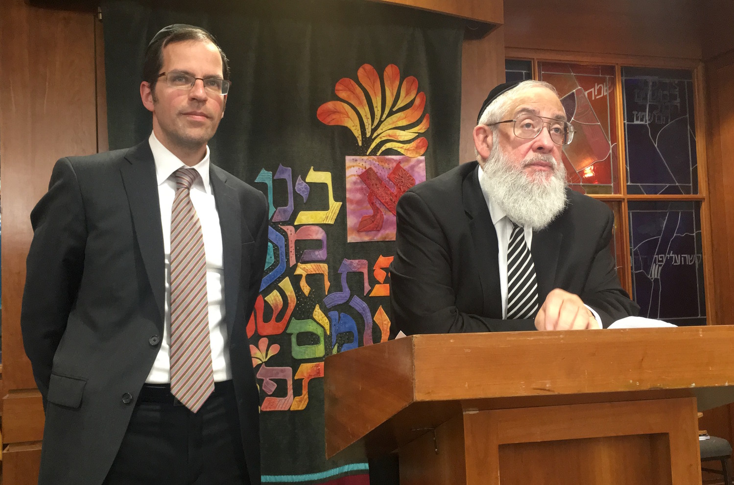 Rabbis Aryeh Lebowitz (left) and Tzvi Flaum spoke about Jersualem at the Young Israel of Woodmere.