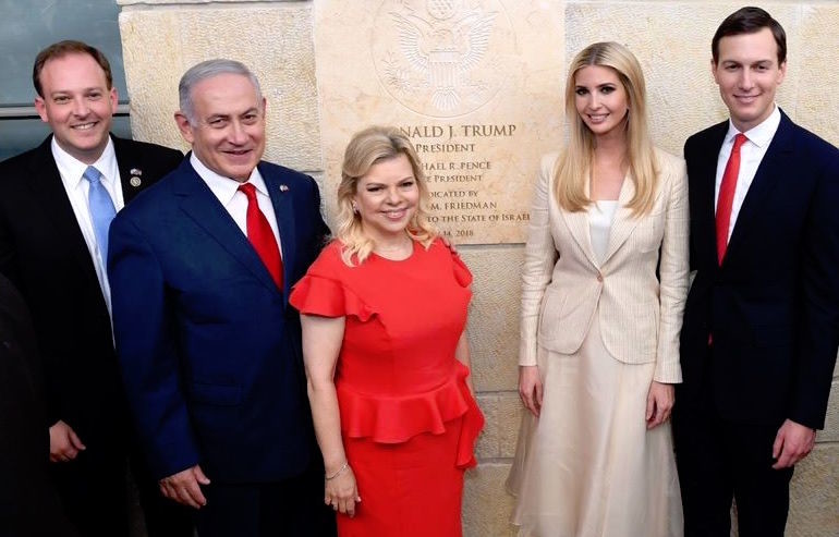 Long Island Rep. Lee Zeldin is pictured at the opening of the U.S. embassy in Jerusalem on May 14 with Prime Minister Benjamin Netanyahu, Sarah Netanyahu, Ivanka Trump, and Jared Kushner.