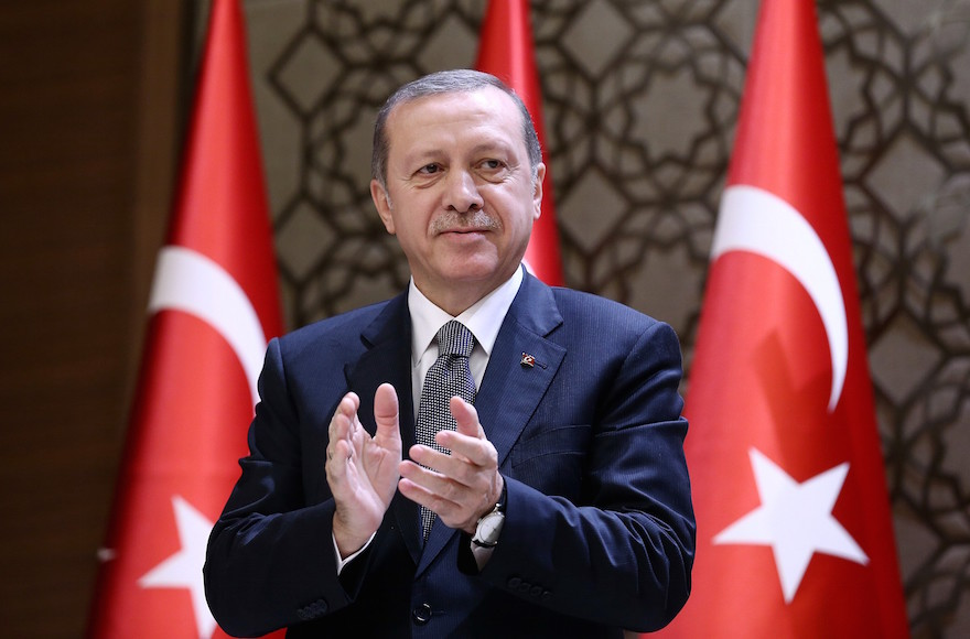Turkish President Recep Tayyip Erdogan during the 2015 Turkish Academy of Sciences award ceremony at Presidential Complex in Ankara.